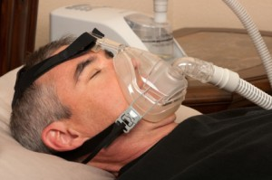A person wearing CPAP